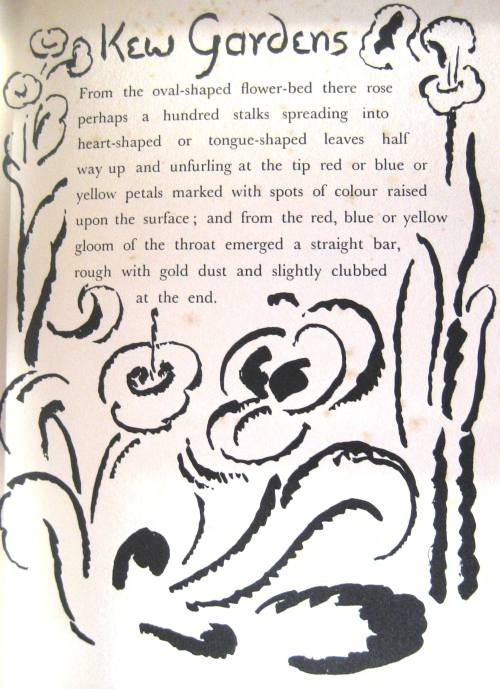 The opening page of Kew Gardens by Virginia Woolf, with illustrations by Vanessa Bell.