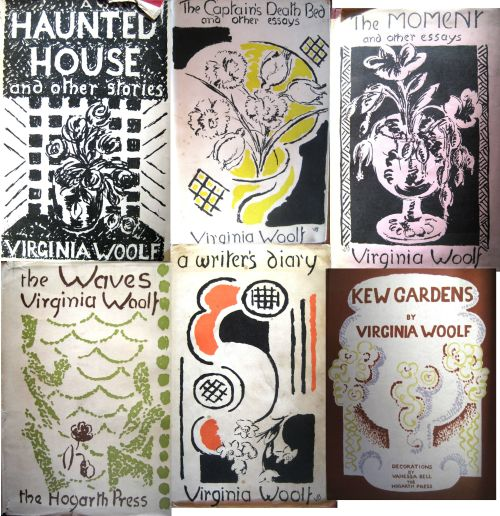 Montage of Vanessa Bell's cover designs for Virginia Woolf's texts